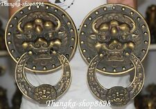"9"" China Bronze Foo Fu Dog Lion Lions Head Door Knocker Ring Doors Knockers Pair"