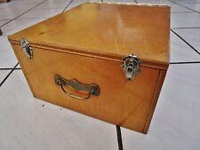 ancienne boite-caisse-intérieur de bureau-médium verni-1950-poignée en laiton