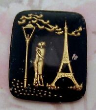 vintage glass reverse painted intaglio lovers in Paris cabochon 27x22mm - f2578