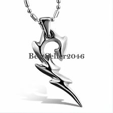 Unique Tribal Flame Pendant Men's Necklace High Polished Stainless Steel Silver