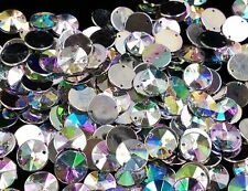 NEW! 50 pcs x Sew On 10 mm Acrylic Rhinestones Clear AB Color  Round  Shape
