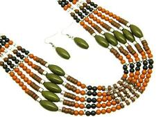 Multi Layers Brown And Orange Lucite Bead Necklace Earring Set