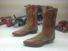 CUSTOM CLASSIC MADE IN USA TWO TONE BROWN LEATHER WESTERN POINTY DANCE BOOTS 9 B