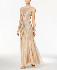 Adrianna Papell Champagne Ombre Sequin Chevron w Sheer Neckline Dress NWT Sz 8