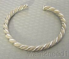925 ITALY STERLING SILVER ROPE CUFF BRACELET flexible twisted mesh unisex 15g