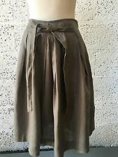 ZARA KHAKI OLIVE LINEN FLIPPY FLIRTY MIDI SKIRT BROWN SIZE MEDIUM UK 10 New Z301