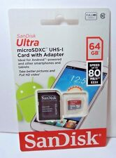 New SanDisk Ultra MicroSDXC UHS-1 Card w/ Adapter 64 GB Speed up tot 80 MB/S