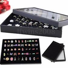 Présentoir Boîte Pour 100 Bague Boucle d'Oreille Affichage Rangement Bijoux Noir