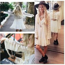 $148 Free People White Gentle Dreamer Lace Crochet Embroidered Tunic Dress M L