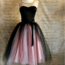 On Sale Women Lady Fashion Midi Skirt High Waist Party Tulle Tutu Pink+Black A3
