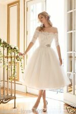 New White/ivory Tea Length Off Shoulder Wedding Dress Bridal Gown Custom Size