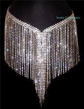 Silver Metal Prong Set Rhinestone Long Fringe Multi Row Belt Skirt Belly Dance