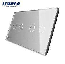 2 Fach Glas Abdeckung für Touch Lichtschalter Livolo Grau Kristall Glas 2G+2G