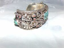 Vintage Navajo Sterling Silver and Turquoise Watch Cuff Bracelet signed  c