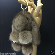 15cm Gray- Real Mink Fur Copenhagen Rabbit Bunny Keyring Bag Charm Toy Doll