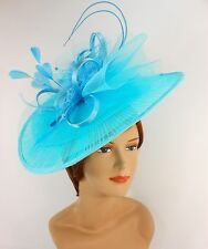 New Church Derby Wedding Pleated Fascinator Hat Headband 2450 Aqua
