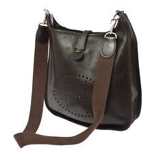 Auth HERMES Evelyn PM Shoulder Bag Brown Evercalf Leather Vintage France V14158