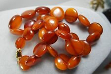 VINTAGE ANTIQUE NATURAL BALTIC AMBER BEAD NECKLACE BUTTERSCOTCH 37,4gr 385 GOLD