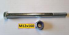 Schraube DIN 931 M12x160mm, 10.9 + Mutter M12 Kl.10 verzinkt  für Kugelkupplung