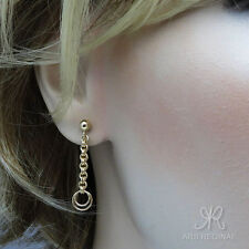 KOMFORT & ELEGANZ ● Kugel Ohrstecker Ohrringe mit Kette ygf 14k Gold 585
