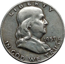 1957 Benjamin Franklin Silver Half Dollar United States Coin Liberty Bell i44585