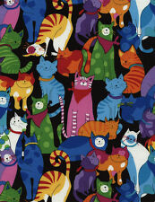 Timeless Treasures Happy Cats Quilt Fabric C3180 Multi By The Yard