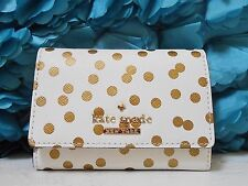 NWT Kate Spade Cedar Street Confetti Gold Dot Darla Leather Card Case Wallet NEW