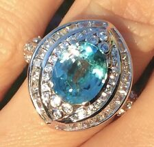 Vintage 3.8ct Natural Earth Mined Blue Unheated Zircon Tanzania Cocktail Ring 5