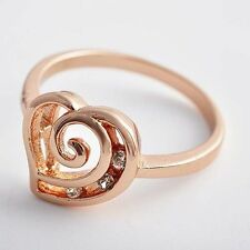 Classic 14K Rose Gold Plated Clear Cubic Zirconia Heart Charm Finger Ring