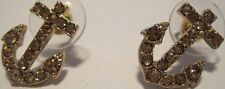 Earrings Gold Rhinestone Cluster Anchors Sailor Hypoallergenic Post NWT L1011