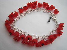 Red Lucite Flower Charm Bracelet - Silver Plated - Red Poppies