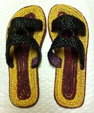 "NEW THAI SANDALS BLACK/TAN/MAROON HERBAL MASSAGE ""SPA"" SLIPPER SIZE 9"