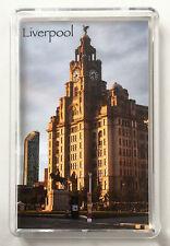 Liverpool Fridge Magnet, Royal Liver Building Sunset. Liver Birds, Mersyside
