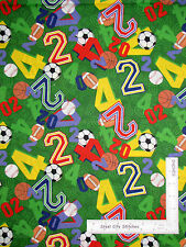 Sport Football Baseball Basketball Numbers Cotton Fabric Springs CP34928- Yard