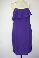 NEW Purple Silk Slip Frill Ruffle Dress by Pyrus Triology Strapy RRP £145 Size S