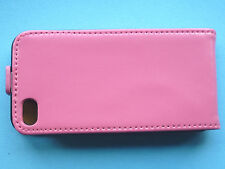 Genuine Real Leather Pink Flip Case For Apple iPhone 4 / 4S