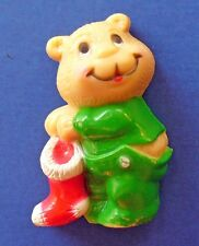 BUY1&GET1@50%~Russ MAGNET Christmas BEAR in PJs STOCKING Fridge Vtg
