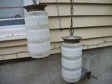 Vintage double hanging lamp light ceiling fixture mid century frosted beautiful!