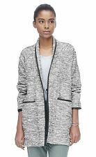 NWT $550 REBECCA TAYLOR Black White Tweed Faux Leather Trim Jacket Coat - Sz 4