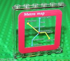 Lego Transparent Clear Panel 1x5x6  Printed Red Metro Map NEW!!!