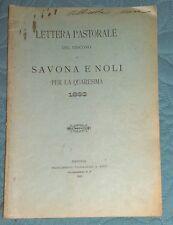 QUARESIMA LETTERA PASTORALE VESCOVO di Savona e Noli 1893