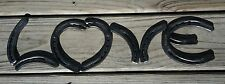 Horseshoe Love, Western Decor, Metal Horse Shoes Rustic Heart Mothers Fathers