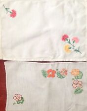 2 Vintage Hand Embroidered Tray Cloths In Excellent Condition