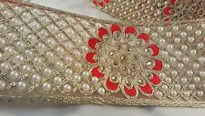 7cm- 1 meter Attracive gold & red embroidered with diamante and pearls lace trim
