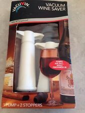 Vacuvin Innovations ~Vacuum Wine Saver with 2 Stoppers~ **WHITE**