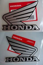 GENUINE Honda Wing Fuel Tank Decal Wings Sticker 2 x 90mm SILVER BLACK *UK STOCK