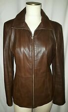 WILSONS JACKET FITTED Zippered Lined Brown Leather Womens sz Medium