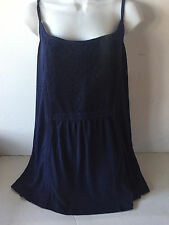 Old Navy womens cami top plus size 3X navy embroidered linen blend New