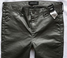 River Island Jeans Size 14 R grey coated leather  Molly jeggings mid rise 34/30