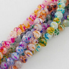 50pcs Faceted Spray Painted Glass Beads Abacus Mixed Color Colorful Beads 8mm